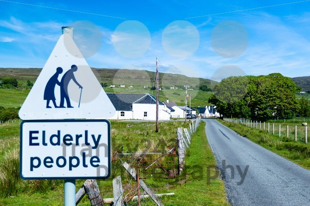traffic sign for paying attention for elderly people - franky242 photography
