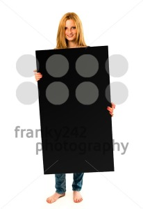 pretty young woman holding a black banner - franky242 photography