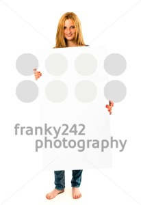 pretty young woman holding a white banner - franky242 photography