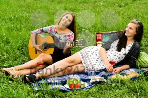 Two girls with guitar during picnic - franky242 photography