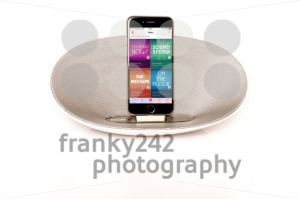 iPhone 6 with loudspeaker displaying the Apple Music radio screen - franky242 photography