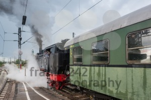 classic steam locomotive with waggon starting engines - franky242 photography