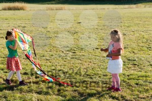 Cute little girls flying a kite - franky242 photography