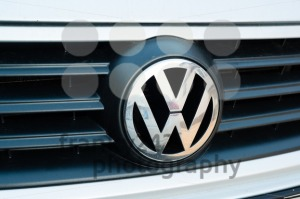 Close up of Volkswagen logo on the grille of a VW Polo - franky242 photography