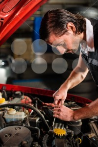 Auto mechanic fixing car engine - franky242 photography