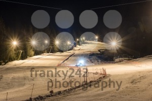 Snowcat preparing a slope at night  - franky242 photography