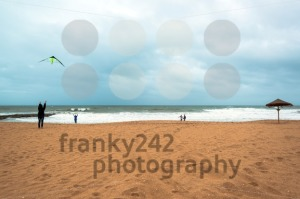 Happy dad and daughter flying kite together - franky242 photography