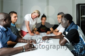 Language training for refugees in a German camp  - franky242 photography