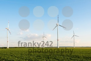 Wind turbines in front of a coal-fired plant - franky242 photography