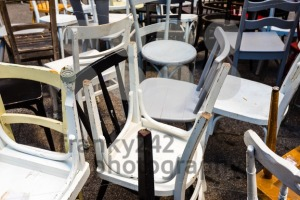 Collection of different used old chairs - franky242 photography