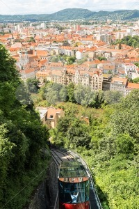 Funicular train going down the Schlossberg in Graz, Austria. - franky242 photography