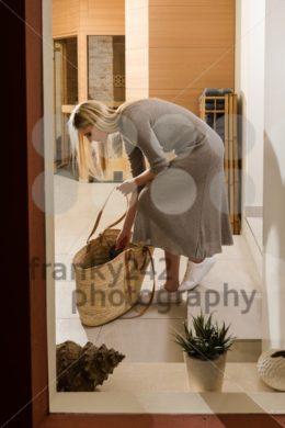 Gorgeous woman entering spa center