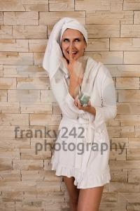 Gorgeous woman having fun with cream jar - franky242 photography