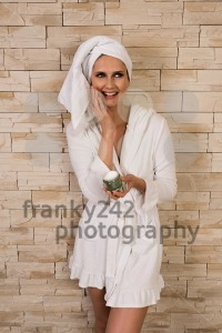 Gorgeous woman having fun with cream jar - franky242 photography