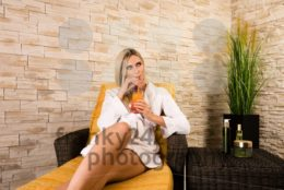 Gorgeous woman relaxing in a health spa