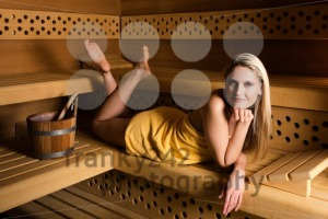 Gorgeous woman relaxing in sauna - franky242 photography