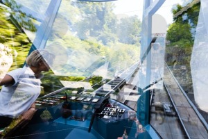Reflections in the funicular train while climbing to Schlossberg in Graz, Austria. - franky242 photography