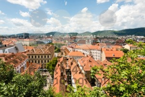 Skyline of Graz, the second-largest city of Austria as seen from Schlossberg - franky242 photography