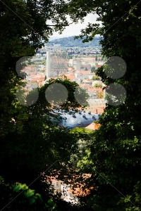 View on the interesting architecture of Graz, Austria, from the Schlossberg hill - franky242 photography
