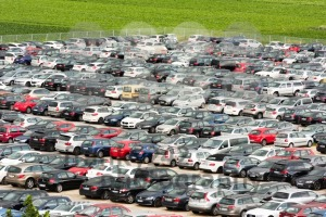 Cars parked in a large parking lot - franky242 photography