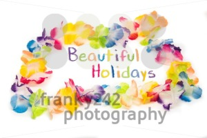 Colorful Hawaiian Flower Necklace with text Beautiful Holidays - franky242 photography