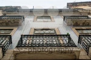 Lisbon house facade with balconies and tiles - franky242 photography