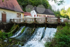 Beautiful restaurant Friedrichshoehle at the Wimsener Cove in the Swabian Alb - franky242 photography