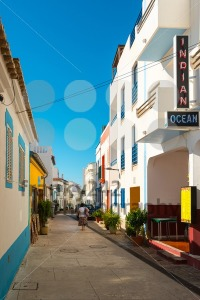 Colorful Portuguese facades with Indian restaurant - franky242 photography