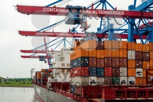 Large container ship at the Container Terminal Altenwerder in Hamburg - franky242 photography