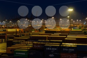 Buchardkai Container Terminal in Hamburg at night - franky242 photography