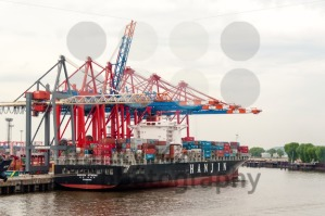 Large container ship at the Container Terminal Buchardkai in Hamburg - franky242 photography
