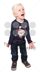 Magic of Christmas. Cute and excited boy on white - franky242 photography
