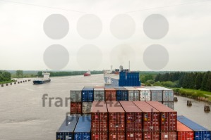 Passage of a container ship through the Kiel Canal - franky242 photography