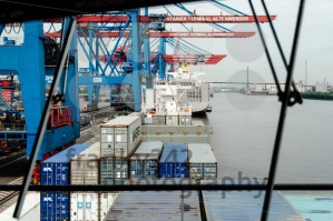 View from arge container ship at the Container Terminal Altenwerder in Hamburg - franky242 photography