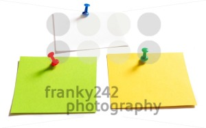 Thumbtack pins and notepaper on white - franky242 photography