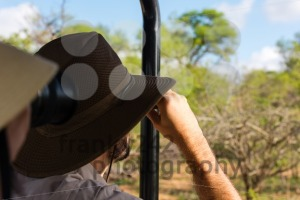Young couple on safari in jeep looking - franky242 photography
