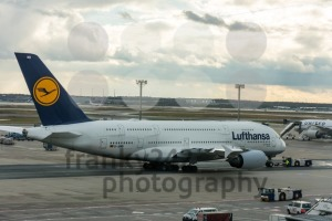 Airbus A380-800 Munich of Lufthansa on the runway in the Frankfurt airport - franky242 photography