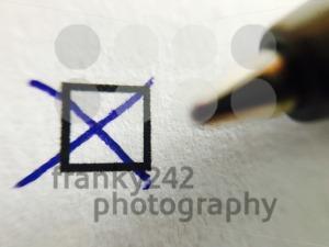 Check - ballpoint pen marking tick in check box - franky242 photography