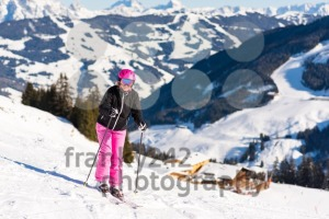 Female skier close to skiing hut - franky242 photography