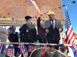 Traditional carnival procession in Germany making fun of Donald Trump