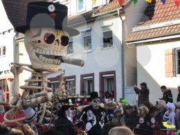 Traditional carnival procession in Germany referring to Dia de los Muertos