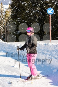 attractive middle aged woman with ski and snow - franky242 photography