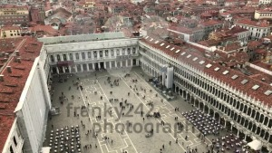 Arial panning from San Marco square in Venice, Italy over the city towards the water. - franky242 photography