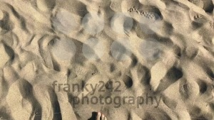 Man walking bare foot on sandy beach into ocean wave - franky242 photography