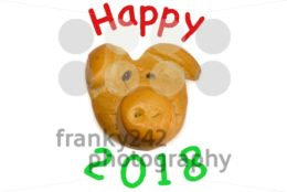 baked lucky pig as talisman for new year 2018