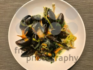 Mussels in the bowl with parsley branch - franky242 photography
