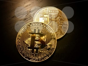 front and back of golden bitcoins - franky242 photography