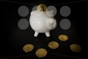 Piggy bank with Bitcoins - franky242 photography