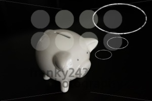 Piggy bank with thought bubbles and room for your text - franky242 photography