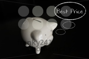 Piggy bank with thought bubbles, thinking BEST PRICE - franky242 photography